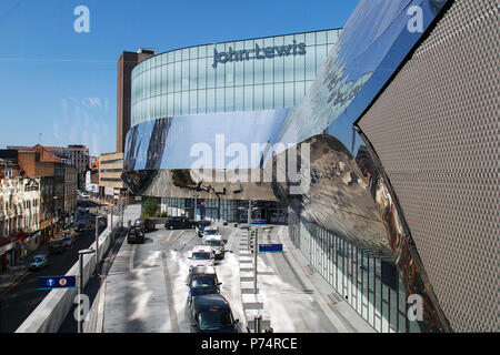 Birmingham, UK: June 29, 2018: Taxi rank at the John Lewis department store Birmingham. John Lewis sells high end merchandise and luxury foods. - Stock Photo
