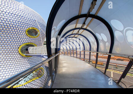 Birmingham, UK: June 29, 2018: Selfridges Department Store in Park Street, part of the Bullring Shopping Centre - from the multi-storey car park. - Stock Photo