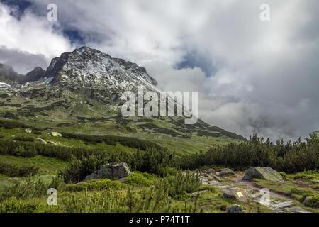 Yellow trail near Kozi Wierch massif in the Tatra Mountains, Poland. - Stock Photo