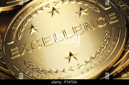Close up of a golden medal with the word excellence written in relief. Concept of accomplishment. 3D illustration - Stock Photo