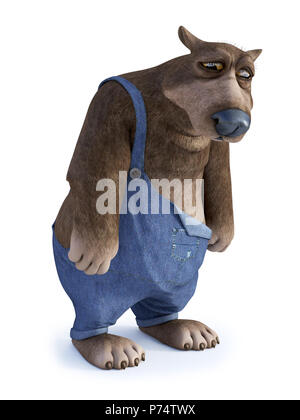 3D rendering of a cartoon bear looking very sad. White background. - Stock Photo