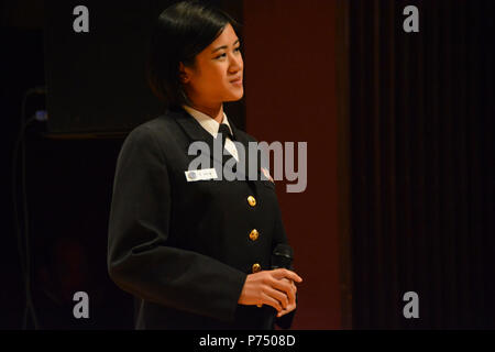 WEST READING, Pa. (Oct. 27, 2014) Musician 1st Class Kristine Hsia, from Holbrook, N.Y., is one of the newest members of the United States Navy Band Commodores. MU1 Hsia joined the Commodores after serving as lead vocalist with the U.S. 7th Fleet Band in Yokosuka, Japan. - Stock Photo
