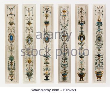 Six Painted Panels; Unknown; Paris, France, Europe; about 1780; Gouache on silk with gold paint; Various, see extensions. - Stock Photo