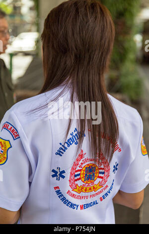 Emergency medical staff on duty in Bangkok street, Thailand - Stock Photo