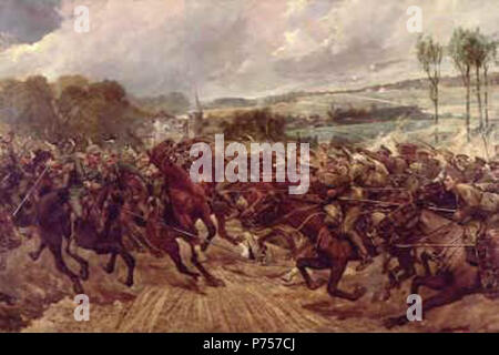 English: Depicts the charge of a squadron of the 9th Lancers against the Prussian Dragoons of the Guard at Moncel on the 7th September 1914. This was Cavalry action in the First World War when cavalry charged with both sides at full gallop. The 9th Lancers casualties were 3 killed and 7 wounded compared to heavy losses suffered by the Prussian Dragoons. before 1927 when the artist died 25 Charge of the 9th Lancers by Richard Caton Woodville - Stock Photo