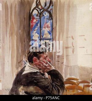 .  English: Portrait of Man in Church Deutsch: Portät von einem Mann in der Kirche Polski: Portet mczyzny w kociele  1900 18 Boldini, Man in church - Stock Photo