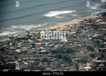 Aerial View of the waterfront of Accra, Ghana - Stock Photo
