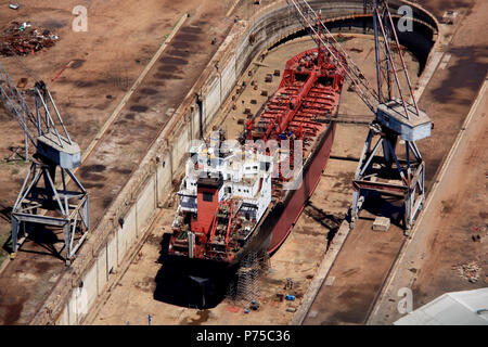 Aerial View of a Ship in a Dry Dock in Ghana - Stock Photo