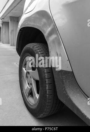 Dents on the car caused by the accident. Close-up. - Stock Photo