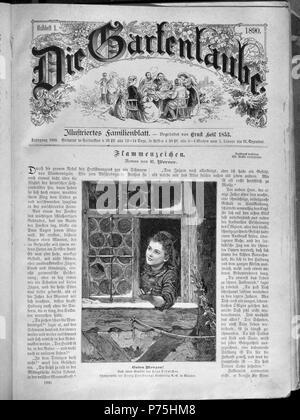 """. Die Gartenlaube (The Garden Arbor). Dieses ist Seite 1 von 898, in dem Buch (page 1 of 898, in journal) 'Die Gartenlaube' 1890.  Letzte Seite (end page):   File:Die Gartenlaube (1890) 898.jpg  - End of 1890 book.    Text: """"Flammenzeichen"""" (Romans/novel). Bild unten: """"Guten Morgen!"""" Autor, Text: E. Werner (d. i. Elisabeth Bürstenbinder, 1838–1918). Bild: Foto von Franz Hanfstaengl Kunstverlag AG, München, nach einem Gemälde von    Hugo Oehmichen (1843–1932)  Alternative names Hugo Öhmichen  Description German painter  Date of birth/death 10 March 1843 December 1932  Location of birth/dea - Stock Photo"""