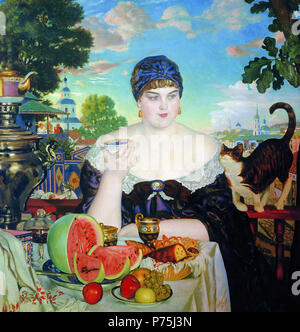 . Russian: «  » A Merchant's Wife's Teatime   1918 This link gives the date 152 Kustodiev Merchants Wife - Stock Photo