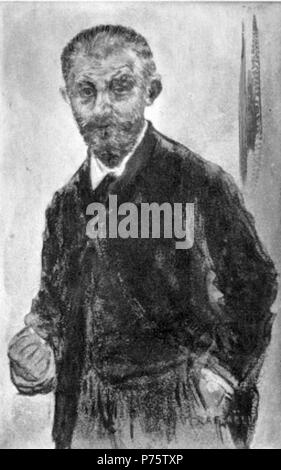 Portrait of French writer Joris-Karl Huysmans (1848-1907) by Jean-François Raffaëlli (1850-1924) . 1893 145 J. K. Huysmans by Raffaelli - Stock Photo
