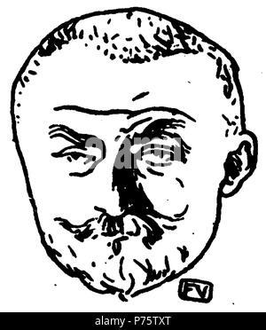 Portrait of French writer Joris-Karl Huysmans (1848-1907) from Le Livre des masques (vol. II, 1898) by Remy de Gourmont (1858-1916) . circa 1898 145 J.-K. Huysmans by Vallotton - Stock Photo