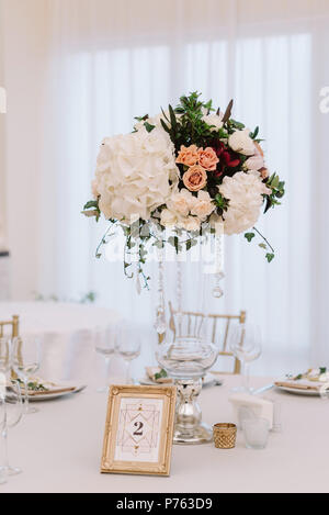 Magnificent Volume Bouquets Of Flowers In High Glass Vases Wedding