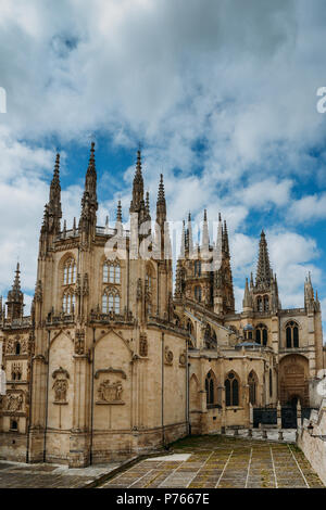 13th-century Burgos Cathedral is outstanding for the elegance and harmony of its architecture - UNESCO World Heritage designation. - Stock Photo
