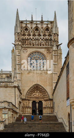 Burgos, Spain - June 13, 2018: 13th-century Burgos Cathedral is outstanding for the elegance and harmony of its architecture - UNESCO World Heritage d - Stock Photo