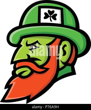 Mascot icon illustration of head of a leprechaun, a type of fairy in Irish folklore depicted as little green bearded man, wearing a coat and hat, view - Stock Photo
