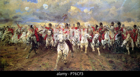 . Scotland Forever! .  English: 'Scotland Forever!' is an 1881 painting by Lady Butler depicting the start of the cavalry charge of the Royal Scots Greys who charged alongside the British heavy cavalry at the Battle of Waterloo in 1815 during the Napoleonic wars.' . 13 August 2012 210 Scotland Forever! - Stock Photo