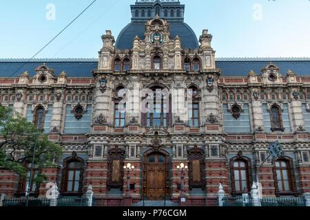 Exterior of the Water Company Palace in Avenida Cordoba, Barrio Norte, Buenos Aires - Stock Photo