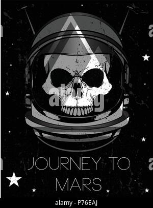 Skull astronaut illustration - Stock Photo