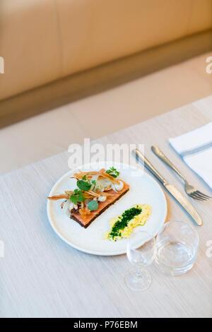 smorgasbord at Aamanns 1921 restaurant, Copenhagen - Stock Photo