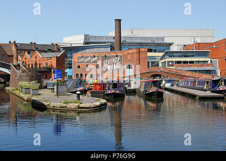 Birmingham, UK: June 29, 2018: Regency Wharf at Gas Street Basin. The restored canal system in Birmingham central is a national heritage landmark. - Stock Photo