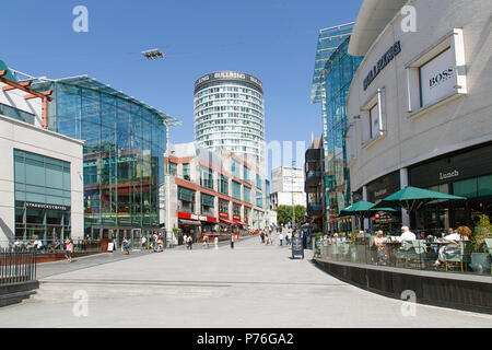 Birmingham, UK: June 29, 2018: The Bullring Shopping Centre - Birmingham. People shopping in the pedestrianised zone near Grand Central Station. - Stock Photo