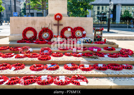 War memorial and cenotaph in St Peters Square, Manchester, UK - Stock Photo