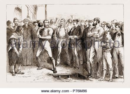 BRITISH ATHLETIC SPORTS AT ALEXANDRIA, EGYPT, 1876. - Stock Photo