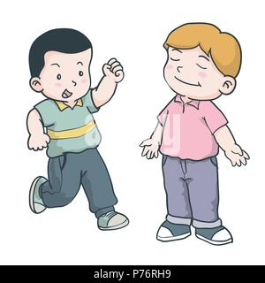 Hand drawing of Illustration of young boys is running and standing with smile facial on a white background - Vector Illustration. - Stock Photo
