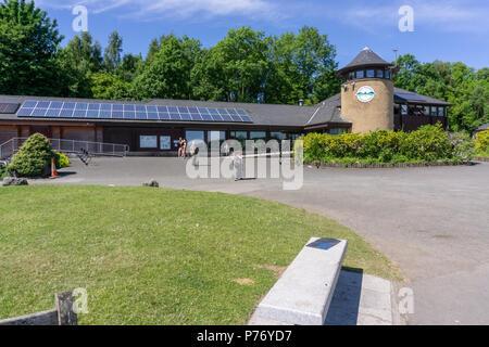 Lochwinnoch, Scotland, UK - July 01, 2018: Clyde Muirshiel Castle Semple visitors centre in Lochwinnoch taking advantage of the unusual hot weather in - Stock Photo