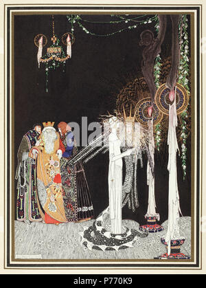 English: 'She saw the Lindworm for the first time as he came in and stood by her side' Illustration by Kay Nielsen in East of the sun and west of the moon (1914). In the early twentieth century several English publishers issued a series of collector's editions of children's literature. These gift books, specially bound in gold-tooled vellum, were elaborately illustrated with coloured plates by the best illustrators of the time such as Arthur Rackham, Edmund Dulac, Hugh Thomson, and Heath Robinson. One of the most stunning is East of the sun and west of the moon illustrated by the Danish illust - Stock Photo