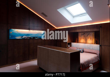 Masculine bedroom with wood paneling