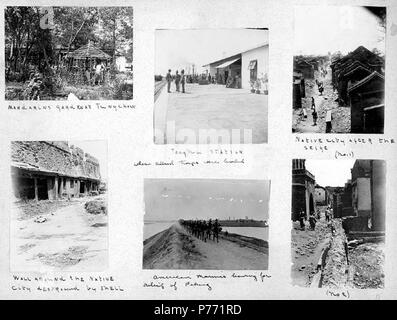 . English: 7.15 Military activities, ca. 1899-1901 . English: Captions on album page: Mandarin's garden at Tungchow; Tongku station where Allied troops were landed; Native city after the seige; Wall around the native city destroyed by shell; American Marines leaving for relief of Peking . PH Coll 241.B15a-f Subjects (LCTGM): Gardens--China; Railroad stations--China; Ethnic neighborhoods--China; City walls--China; Marines (Military personnel); War damage Subjects (LCSH): China--History--Boxer Rebellion, 1899-1901--Destruction and pillage; China Relief Expedition (1900-1901)  . circa 1899-1901 1 - Stock Photo