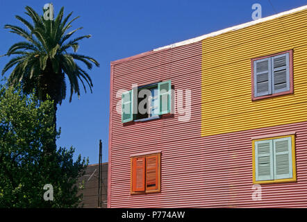 corrugated iron facade of a house in La Boca, Buenos Aires,  Argentina, - Stock Photo