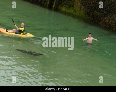 Fun canoeing in Newquay harbour. 2018  Robert Taylor/Alamy Live News.  Newquay, Cornwall, UK. - Stock Photo