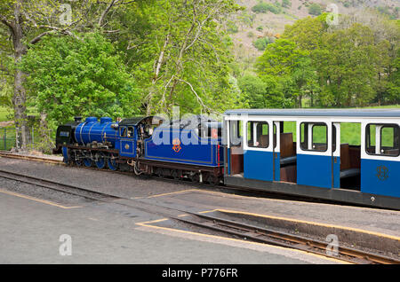 Steam train engine locomotive waiting at Dalegarth Station Ravenglass and Eskdale Railway Cumbria England UK United Kingdom GB Great Britain - Stock Photo