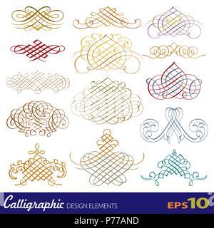 Vector set of calligraphic design elements - Stock Photo