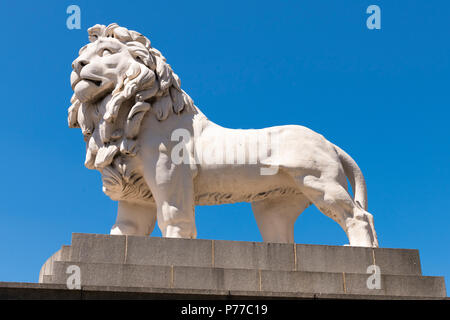 London Southbank The South Bank Lion of Coade Ceramic Stone by William Frederick Woodington in 1837 some 4m sq south side Westminster Bridge - Stock Photo
