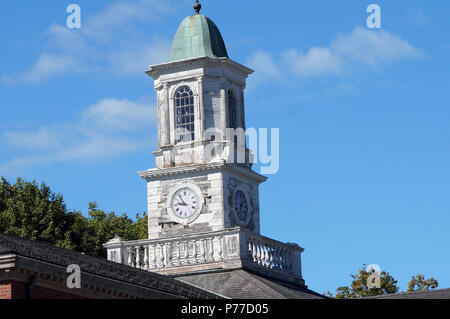 Clock Tower On an Abandoned Hospital Building - Stock Photo