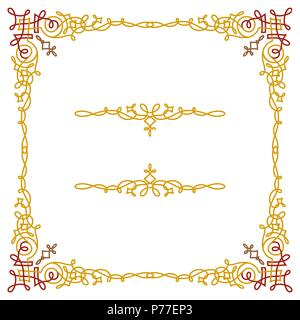 Colorful luxury border, wire frame beautifully blended - Stock Photo