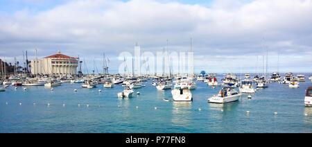 Moored boats in the bay of Avalon harbour on Santa Catalina Island California - Stock Photo