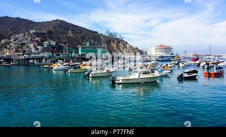 Boats moored in Avalon Bay on Santa Catalina Island California - Stock Photo