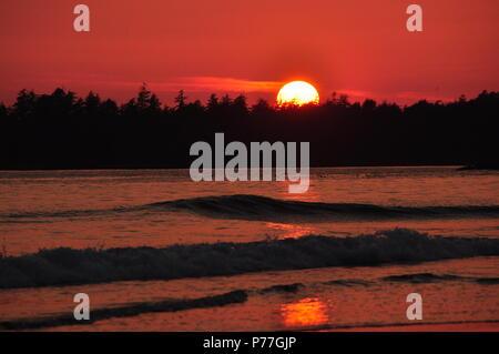 Mackenzie beach sunset in Tofino BC,Canada - Stock Photo