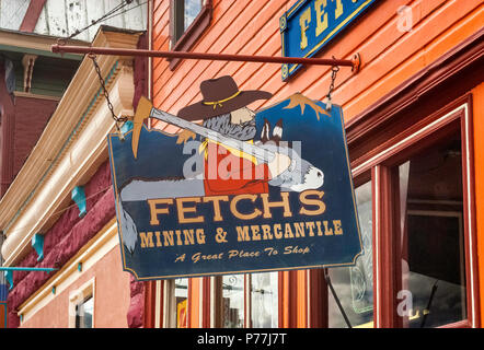 Sign at store for gold prospectors at Greene Street, Silverton, Colorado, USA - Stock Photo