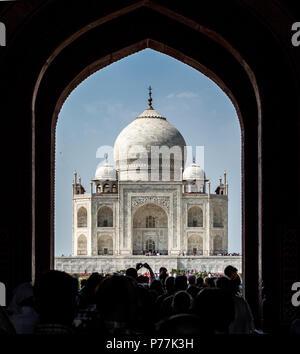 Taj Mahal framed in a doorway, Agra, India - Stock Photo