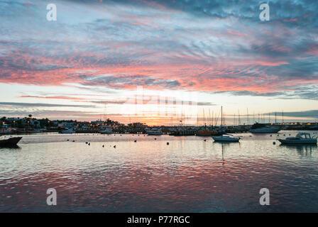 Stunning Sunset at Punta del Este Port, Uruguay. - Stock Photo
