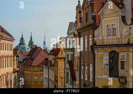 A glimpse of Prague's Old Town architectural houses including Gothic and Baroque styles, Czech Republic, Europe. - Stock Photo