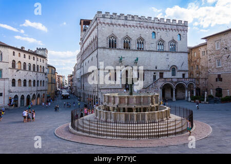 PERUGIA, ITALY. August 7, 2017: Fontana Maggiore on Piazza IV Novembre in Perugia, Umbria, Italy - Stock Photo