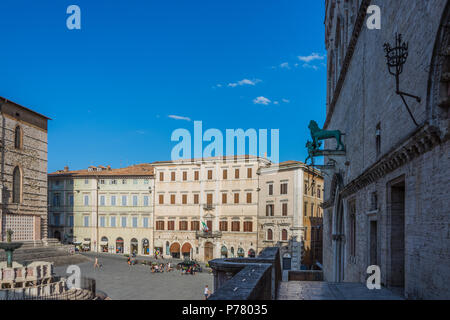PERUGIA, ITALY. August 7, 2017: View of Piazza IV Novembre, Perugia, Umbria, Italy - Stock Photo